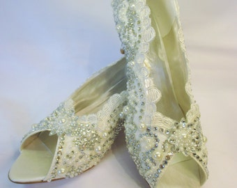 Customised Lace, Pearl and Crystal Gems Wedding Shoe