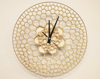 Laser cut Wall Wood Unique Clock, Wooden Clock, Modern Voronoi Laser Cutting Clock, Parametric Honeycomb Wall Clock