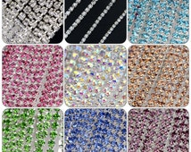 13 colors 3mm Rhinestone Trim  Crystal Trim  Rhinestone Chain Silver Plated Rhinestone trim