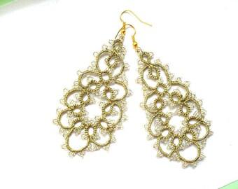 Tatted earrings - Long lace earrings - Dangle earrings - Chandelier earrings - Elegant earrings - -Frivolite earrings