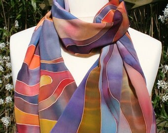 Silk scarf in 100% silk crepe de chine. ochre and shades of blue. Hand-painted.