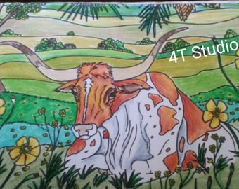 Longhorn greeting card / Texas longhorns / blank inside / all occasion / Texas gifts