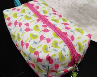 Pink & Yellow Birds Zippered Pouch Bag