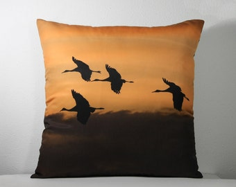 """16""""x 16"""" Decorative Pillow Cover with Bosque del Apache Flying Cranes in Sunset Photo Print"""