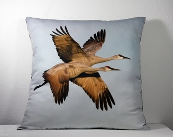 """16""""x 16"""" Decorative Pillow Cover with Bosque del Apache Two Flying Cranes Photo Print"""