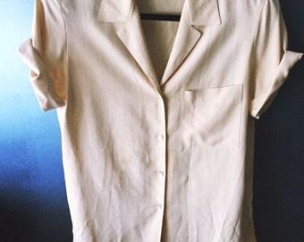 Vintage 1950's Tan Button Up