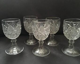 Set of 5 Vintage Crystal Liquor Glasses.