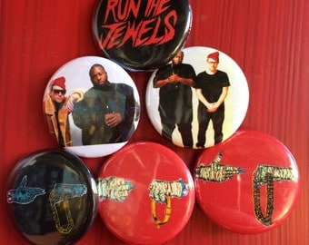 "1.25"" Run The Jewels pin back button set of 6"