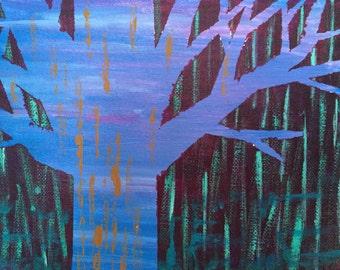 "Rainy Night, Orginal Acrylic Painting, 6"" by 8"""