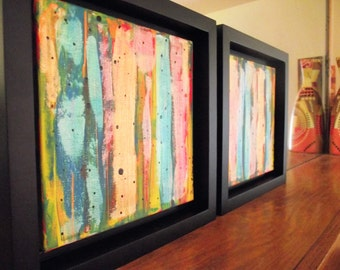 Abstract Multicolor Art Framed 10 x 10 Black Rainbow Nursery Playroom kids room Orange Green Set of Two Black Frames Iridescent wedding gift