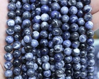 Natural Blue Sodalite, Round  Beads, Blue Sodalite, Sodalite Beads, 4 6 8 10 12 14 mm, (OB024)