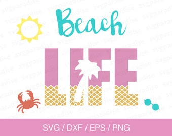 Beach Life Svg, Sea Life Svg, Svg, Eps, Dxf, Png use with Cricut & Silhouette