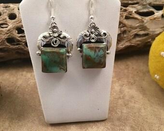ON SALE Vintage Navajo Kingman Turquoise & Sterling Silver Danlge Earrings