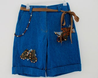 High Waisted jean shorts with crystals