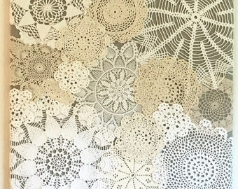 Vintage doily wall hanging