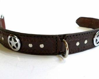 Leather dog collar // leather collar with conchos // tooled leather dog collar // Western leather dog collar // Texas star dog collar