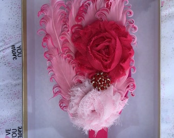 Baby Toddler Child Feathered headband Pink and Light Pink