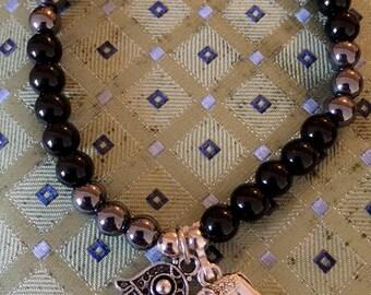 Natural Gemstone beaded Charm bracelet with Elephant and Hamsa Hand Black Onyx