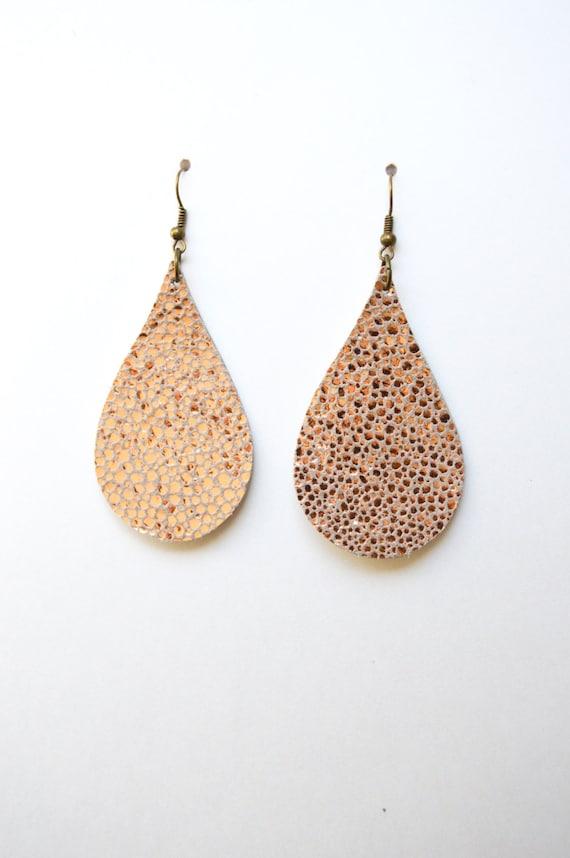 Rose Gold Leather Teardrop Dangle Earrings:  Light Copper Colored Leather Tear Drop  Earrings--Lightweight Earring