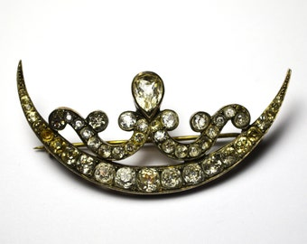 Victorian Crescent With A Unique Design Paste Brooch from Early 1900s Marked PRT 016