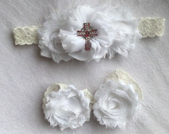 Baby Baptism Headband Set