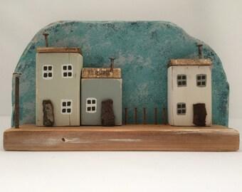 Miniature Wooden Cottage Seaside Scene