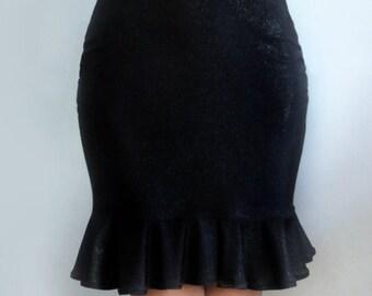 Black Mini Skirt with Ruffle. Ameynra design, New, Size M  New