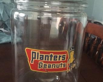 Vintage Mr Peanut large snack jar