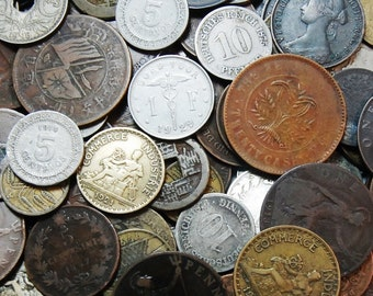 50 Old Foreign Coins, Each One 70 or More Years Old
