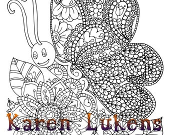 Happy Butterfly, 1 Adult Coloring Book Page, Printable Instant Download, Karen Lukens