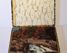 Vintage Placemats in Original Decorative Box, Win El Ware, Made in England, Photographic Autumn Scenes