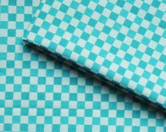 Cotton sateen fabric - Damiers Mondrian lagoon blue