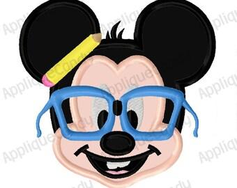 Nerd Mr Mouse Applique Machine Embroidery Design 4x4 5x7 INSTANT DOWNLOAD