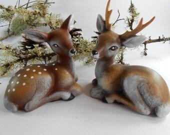 Family deers,Set of two deers, Deer and roe deer , Garden decor,Fairy garden figurines, Fairy garden accessories