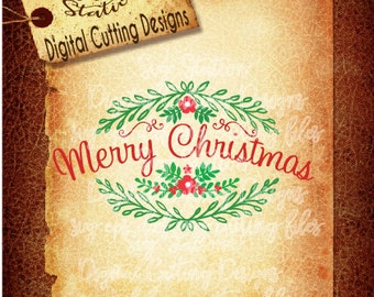Merry Christmas Floral Wreath  SVG  DXF PNG and Eps Instant Download Digital Vector Cut File Silhouette Cricut