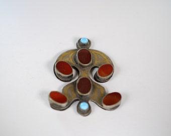 Turkoman carnelian and turquoise pendant