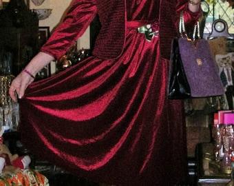Vintage original 1970's claret red velvet embellished & smocked belted full-sweep 2 pc. dress + co-ordinated jacket size: small
