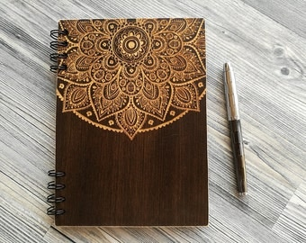 Mandala Notebook, Wooden Notebook, Wood Journal, Engraved Notebook, Custom Journal, Sketchbook, Laser Engraved Journal, Gifts for Her