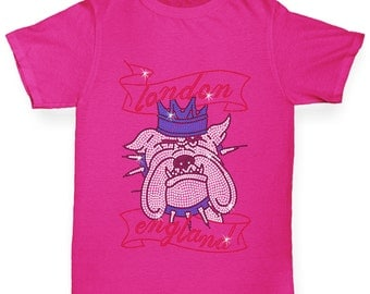 Girl's London Bulldog Rhinestone Diamante T-Shirt