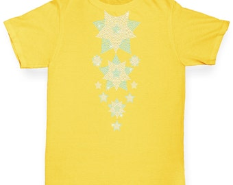 Girl's Headless Falling Snowflakes Rhinestone Diamante T-Shirt