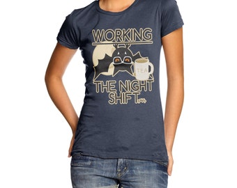 Women's Funny Bat Working The Night Shift T-Shirt