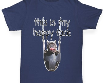 Girl's This Is My Happy Face Dog T-Shirt