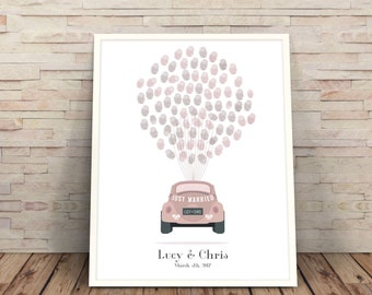 guestbook alternative, guestbook printable, Wedding Tree, wedding car fingerprint, Wedding Guest Book, pink wedding guestbook guest book