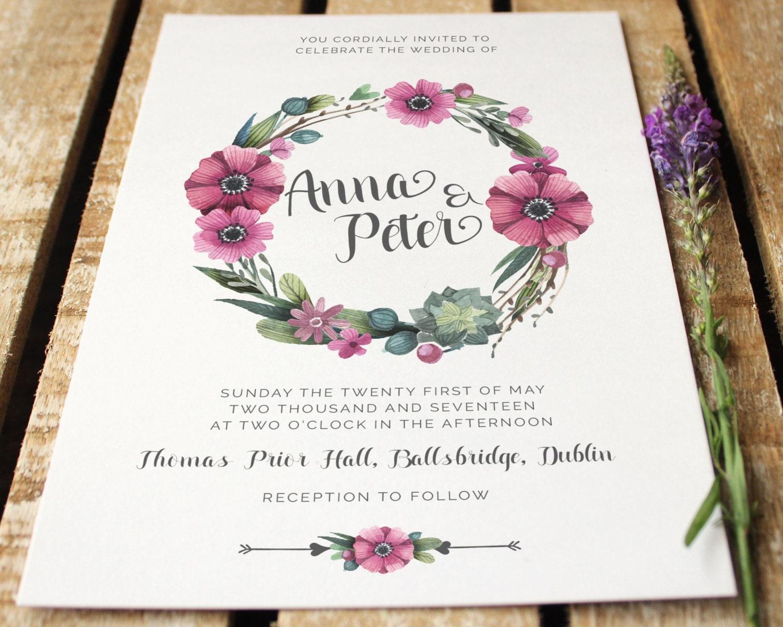 Purple Rustic Wedding Invitations: Rustic Wedding Flower Design Invitations Purple And Pink