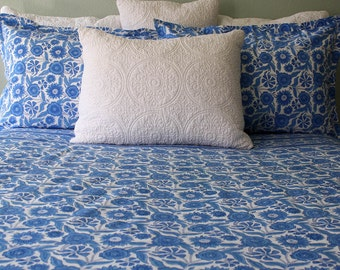 Indian Wood-Block Printed Blue Sunflower Duvet cover with six foot zipper closure; Made from Fine Percale Cotton.