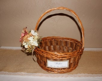Rustic Wedding Wishes Basket / Rustic Wedding Favor Basket / Rustic Wedding Decor