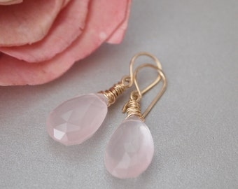 Rose Quartz Gold Filled Earrings, Rose Quartz Briolette, Pink Earrings, Rose Quartz Dangle Earrings, Pink Rose Quartz Jewelry, Love Stone