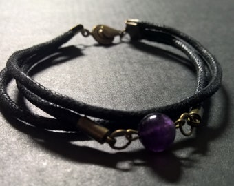 Mens Amethyst bracelet with 3 rope layers