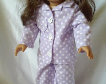 "Handmade Purple Polka Dot Pajamas for American Girl, 18"" Dolls"