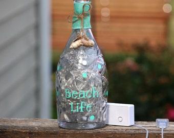 Beach life wine bottle night light